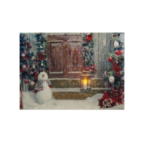 Snowman & Snowy Door - Canvas Wall Print With Flickering LED Light